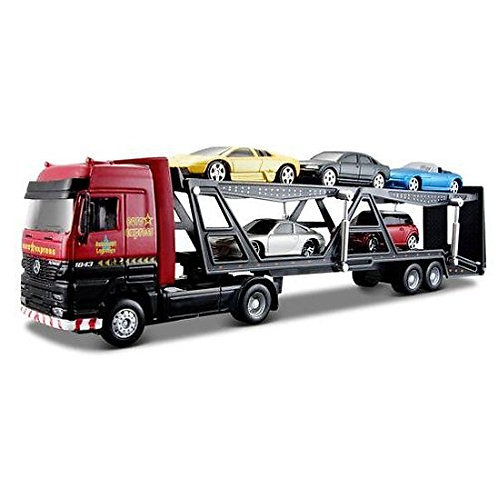 Truck  Carrier with 5 Cars Included - Red