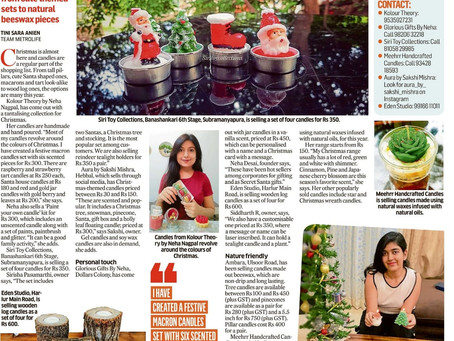 Our First Article on Deccan Herald - Candles Selling in Huge Numbers