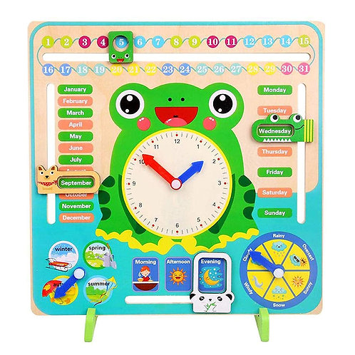 7 in 1,wooden calendar clock preschool educational learning toys for kids- Multi