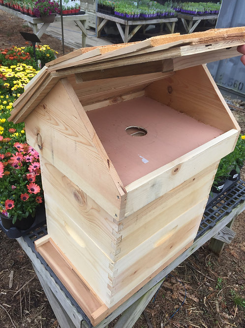 Cedar shingled top feed ready hinging outer cover