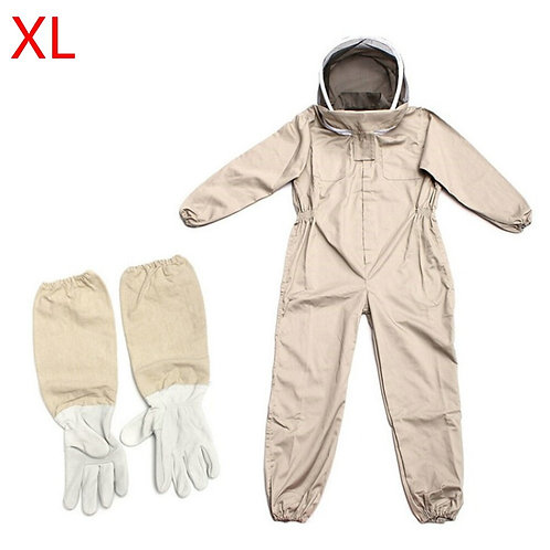 Full Beekeeping Bee Suit & Leather Gloves