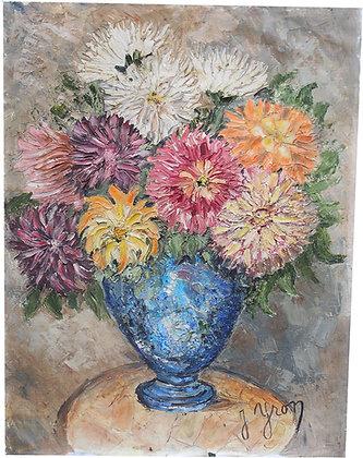 """Huile sur Toile signée c.1960 """"Bouquet"""""""
