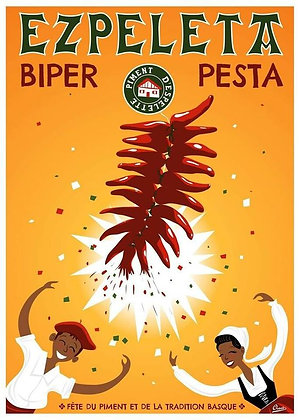 """Affiche CLAVE Illustration """"Espeleta-Piment d'espelette"""""""""""