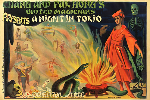 "Affiche Chang and Fak Hong's United Magicians ""a Night in Tokio"" c.1930"