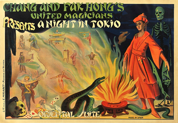 """Affiche Chang and Fak Hong's United Magicians """"a Night in Tokio"""" c.1930"""