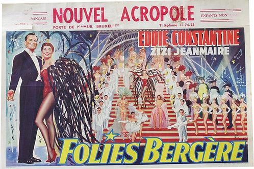 """Affiche Belge """"Folies Bergeres"""" E.Constantine & Zizi Jeanmaire - 1956"""