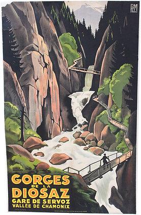 Affiche par BRODERS - GORGES de la DIOSAZ Vallée de CHAMONIX 1926