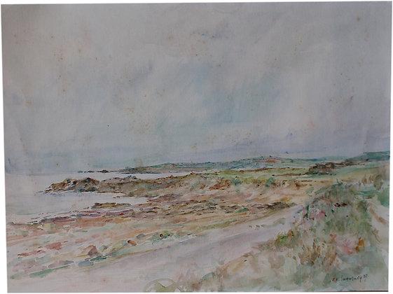 Kezuo IWAMURA - Aquarelle Paysage Marin - 1987
