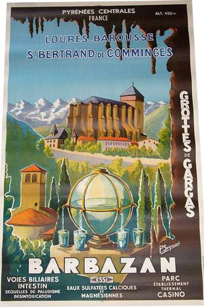 Affiche BARBAZAN - PYRENEES par SEIGNOURET 1930
