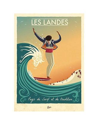 Affiche CLAVE Illustration - Les Landes - Pays de surf et de tradition