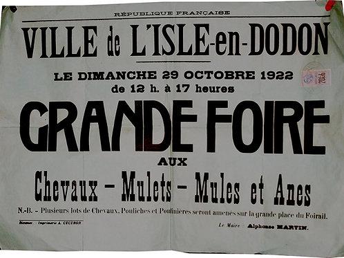 """Affiche Municipale """"Foire aux Chevaux - L'Isle-en-Dodon"""" - 1922"""