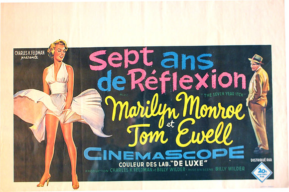 """Affiche Belge """"7 ans de réflexion"""" Marylin MONROE 1956 RE"""