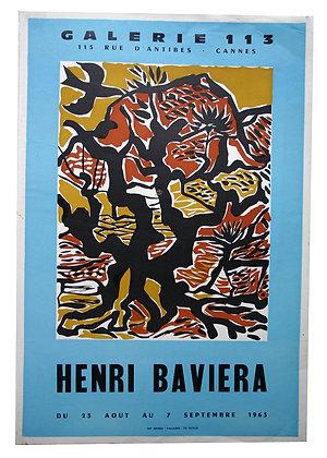 Affiche EXPO - Henri BAVIERA Galerie 113 - 1963