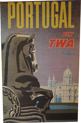 Affiche Tourisme Fly TWA - PORTUGAL - c.1960