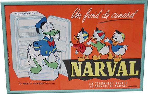 Affiche Publicitaire NARVAL Donald et ses neveux DISNEY 1959