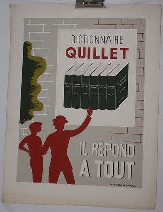 """Gouache Originale de Jean Picart Le Doux """"Dictionnaire QUILLET"""" 1934"""