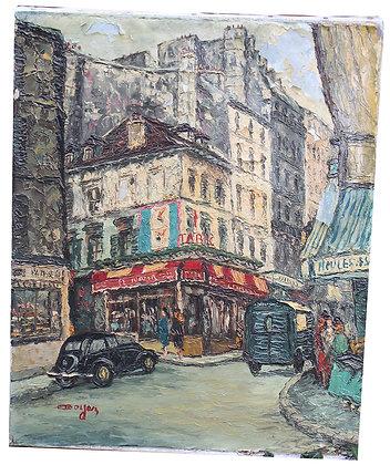 """Huile sur Toile André BOYER """"Rue de Paris Montmartre"""" c.1950"""