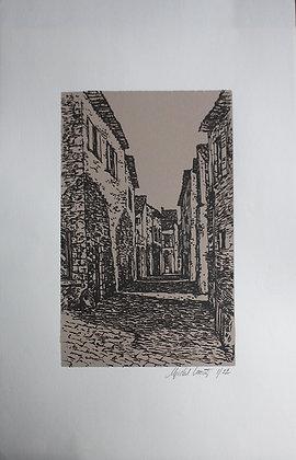Lithographie Michel Leconte - Rue de Village provençal
