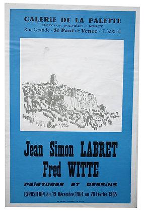 Affiche EXPO - J.S. LABRET & F. WITTE - Peintures et Dessins - 1965