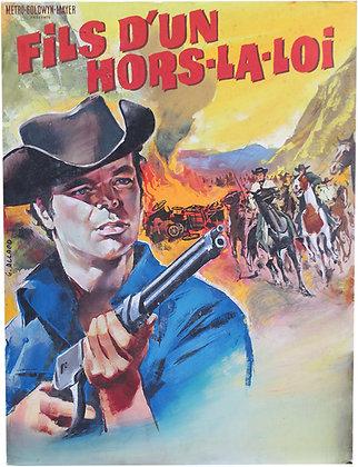 "Gouache de G. ALLARD du film WESTERN ""Fils de Hors la loi"" 1965"