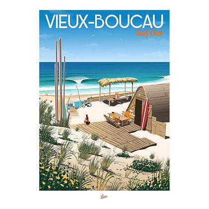 """Affiche CLAVE Illustration """"Vieux Boucau - Surf club"""""""