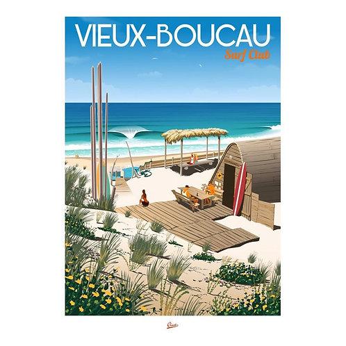 """Affiche encadrée """"CLAVE Illustration """"Vieux Boucau - Surf club"""""""