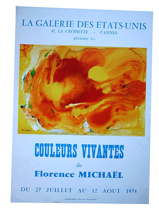Affiche EXPO F. MICKAEL - COULEURS VIVANTES - 1974