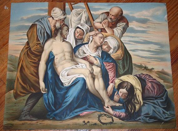 """Lithographie 19eme de Pingot """"Chemin de croix"""""""