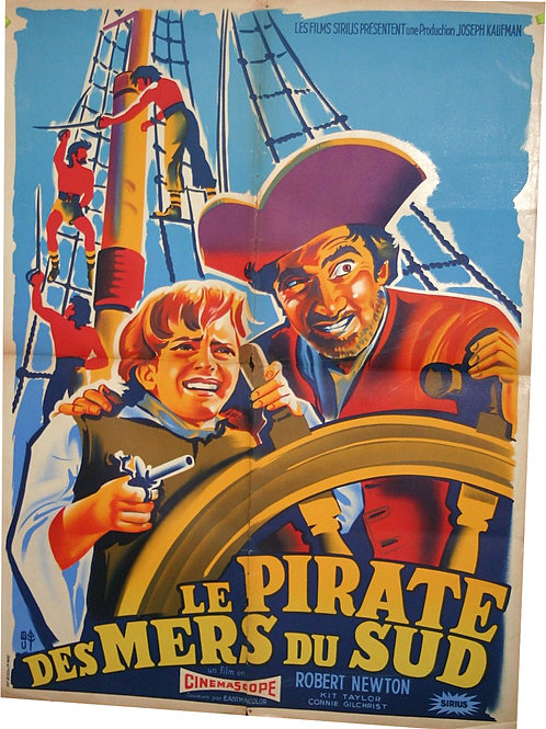 AFFICHE CINEMA 1954 Pirate des mers du sud - Long John Silver