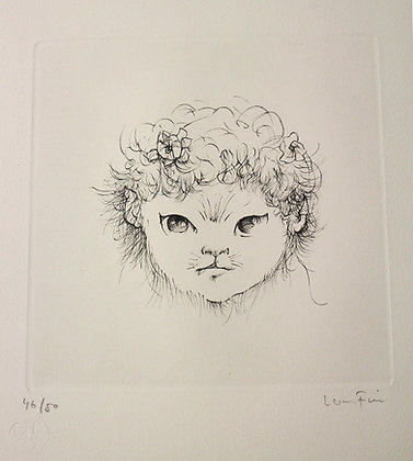 """Lithographie de Leonor FINI """"Tête de Femme Chat"""" n°46/50"""
