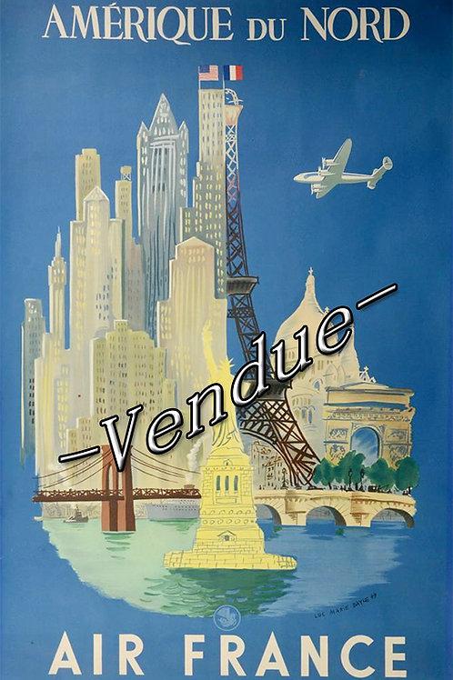 """Affiche AIR FRANCE par Bayle """"Amerique du Nord"""""""