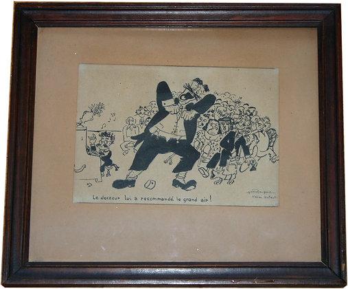 """Encre d'après DUBOUT - """"Groucho et le ténor"""" c. 1950"""