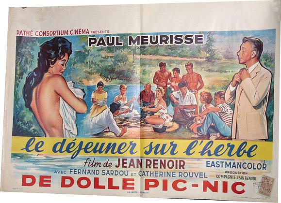 """Affiche Film Belge """"Le déjeuner sur l'herbe"""" 1959"""