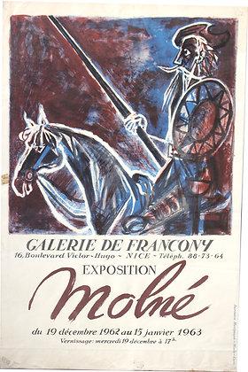 "Affiche Expo MOLNE ""Don Quichotte"" 1963"