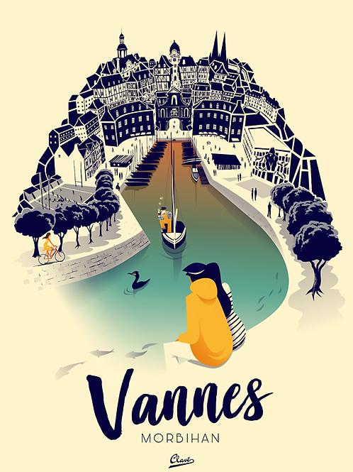 """Affiche encadrée CLAVE Illustration """"Vannes"""""""