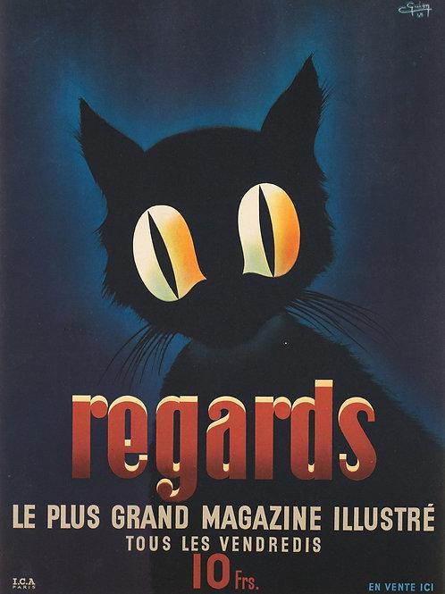 """Affiche """"Regards Magazine illustré"""" par Guion - 1945"""