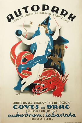 Affiche Originale Parc d'Attraction Espagne 1936 par Ferran Texidor
