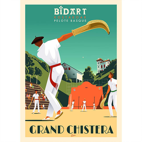 "Affiche encadrée CLAVE Illustration ""BIDART -Grand chistera"""