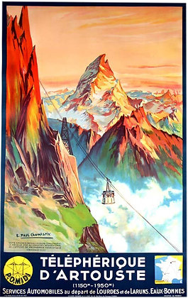 Affiche TELEPHERIQUE d'ARTOUSTE par paul CHAMPSEIX 1934