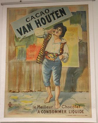 Affiche Originale CACAO VAN HOUTEN c.1890