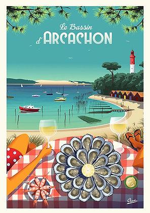 """Affiche CLAVE Illustration : """" La baie d'Arcachon"""""""