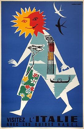 Affiche originale ITALIE Guides Nagel 1955 par Manetti