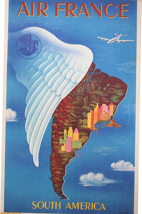 """Affiche AIR FRANCE par Lucien Boucher """"SOUTH AMERICA"""""""