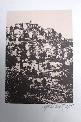 Litho de Michel Leconte - Village de GORDES dans le Luberon