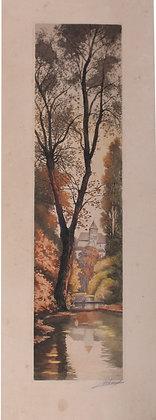 """Lithographie vers 1900 signée """"Village au fil de l'eau"""""""