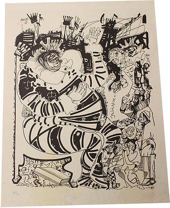 """Lithographie de Raymond MORETTI - """"Le roi"""" - c.1960"""