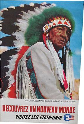 """Affiche """"Visitez les USA"""" SORCIER INDIEN WYOMING - 1960"""