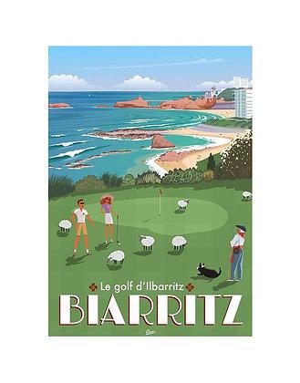 """Affiche CLAVE """"BIARRITZ - Le Golf d'Ilbarritz"""""""