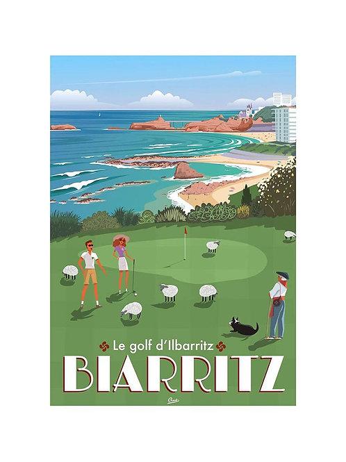 """Affiche Encadrée CLAVE """"Le Golf d'Ilbarritz"""""""