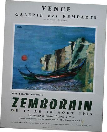 """Affiche ZEMBORAIN """"Marine"""" 1965 expo Vence"""